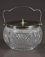 Oval English cut glass biscuit jar with diamond cut design and silver plated mounts, c.1900, 7