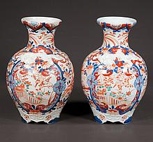 Pair of Imari porcelain vases with cobalt blue, green and bittersweet floral decoration, c.1880, 10.5