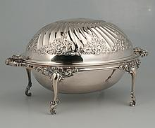 English silver plated melon shaped bun warming dish with scroll decoration, c.1920, 13