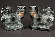 Pair of Staffordshire Pekinese dogs with grey and tan decoration, c.1900, 8