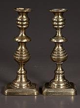 Pair of Scottish brass beehive pattern candlesticks, c.1880, 10