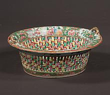Oval Chinese rose medallion fruit basket with pierced lattice work sides, figural and floral decoration, c.1860, 10