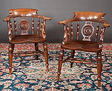 Pair of English Windsor captains armchairs with spindle and circular splat backs, turned legs and stretchers, c.1860, 25