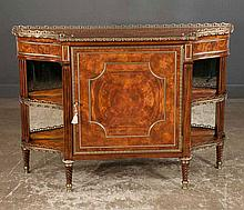 Louis XVI style mahogany credenza with brass gallery, center panel door, open end sections and swirl carved tapered legs by