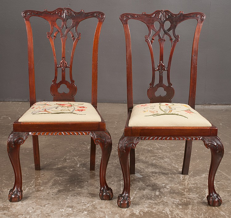 Pair of chippendale style mahogany chairs with interlaced ca for Furniture northgate