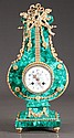 Louis XV lyre shape malachite mantle clock with bronze ormolu mounts, c.1890, 9