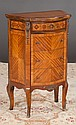 Louis XV style serpentine front walnut stand with marquetry inlay and four drawers, c.1920, 19