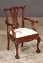 Chippendale mahogany salesman sample armchair with interlaced carved back, carved cabriole legs and ball and claw feet, 16