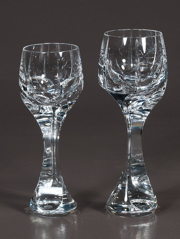 Collection of Baccarat crystal stemware in the