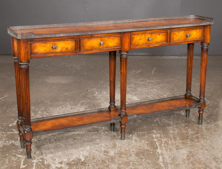 Sheraton style burl walnut console table with brass gallery for Furniture northgate