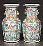 Pair of Chinese rose medallion porcelain vases with palace scene, figural, bird and floral decoration, c.1860, 14