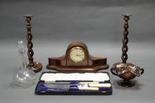A SELECTION OF MISC. DECORATIVE ITEMS. Including mantle clock, glass, candlesticks, etc...