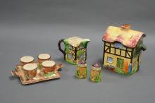 SMALL BREAKFAST SET BY RUBIANART. Includes egg cups, salt and pepper, jug and biscuit barrel.
