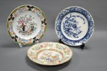 THREE HAND PAINTED PLATES. Including Bombay Japan No. 805 and a Brown-Westhead, Moore & Co