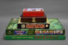 COLLECTION OF 5 GAMES. Including 1949 Totopoly, 1965 Frustration and The Beano Vintage Games Collect