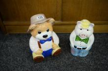 2 BISCUIT BARRELS. Farmer's Kitchen Christopher Wren Pig and Teddy Bear. 30cm max height.