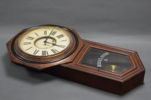 ANSONIA REGULATOR CLOCK. Comes with pendulum and key. Height, 81 cms, width 44 cms