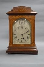 AN IMPRESSIVE MANTLE CLOCK, in a Mahogany case, with inlaid satinwood decoration. 8 day movement wit