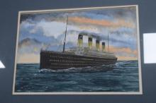 AN ORIGINAL WATERCOLOUR OF THE RMS TITANIC. Signature indistinct, width 40cm