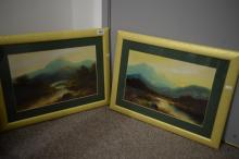 2 UNSIGNED FRAMED OIL PAINTINGS OF MOUNTAIN SCENES. 44CM WIDE.