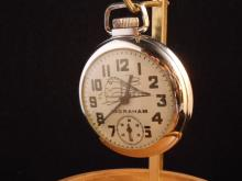 Ingraham - Train On the dial size 14 stem set & wind open face base metal -serviced and running
