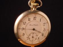 1907  Illinois Watch Company serial number 2034761 1907 - 15J size 14 lever set stem wind double sunk porcelain dial very small chip at the second s dial - screw back & bezel open face base metal serviced and running