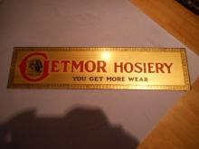 Original Sign 1930's GETMOR HOSIERY 3