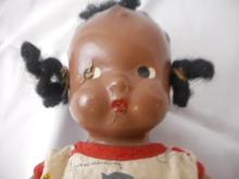 Antique/Vintage Black Americana Doll Fish Pattern Dress Sheer Sucker Material needs new rubber band to hold the legs on
