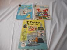 3 Comic Books Disney Magizine 1977 Wood Woodpecker 1972 Scamp 1960