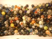 A Box of Glass Marbles, over 600, 9 Lbs. worth, 1950's & Up, Use For Hobbies, Crafts, or that Child to play with
