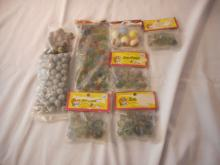 8 Bags Of Marbles, Clay Marbles Maker unknown & Glass Marbles made by Marble King