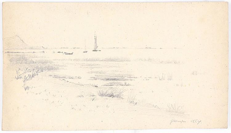 Douzette, Louis. Sammlung von 6 (3 Küstenlandschaften, 3 mit Schiffen bzw.