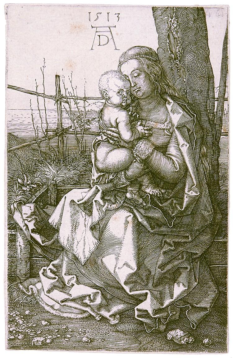 Dürer, Albrecht. Die Madonna mit dem Kind am Baum. Original-Kupferstich. 15