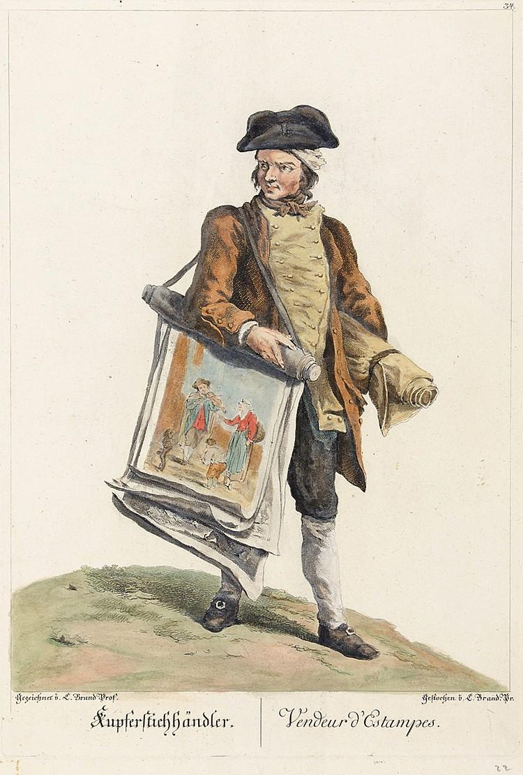 Brand, Johann Christian. Kupferstichhändler. Vendeur d'Estampes. Altkolorie
