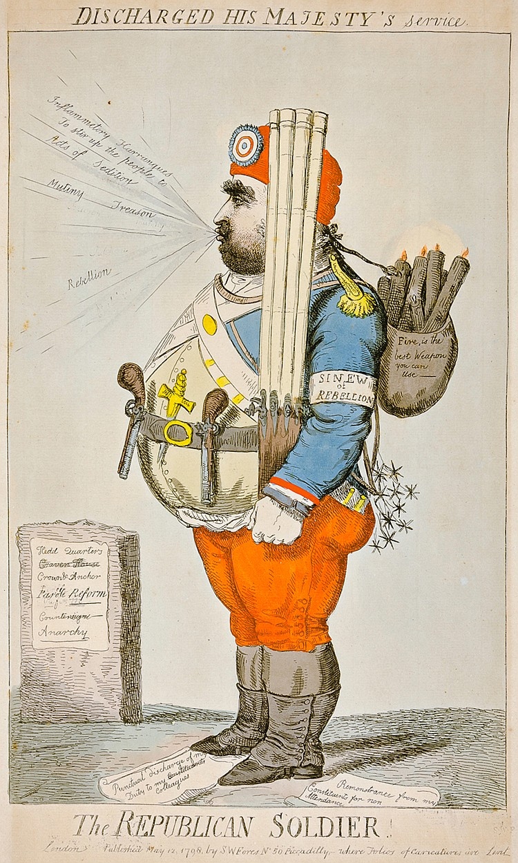 Cruikshank, Isaac. The Republican Soldier. Discharged by His Majesty's Serv