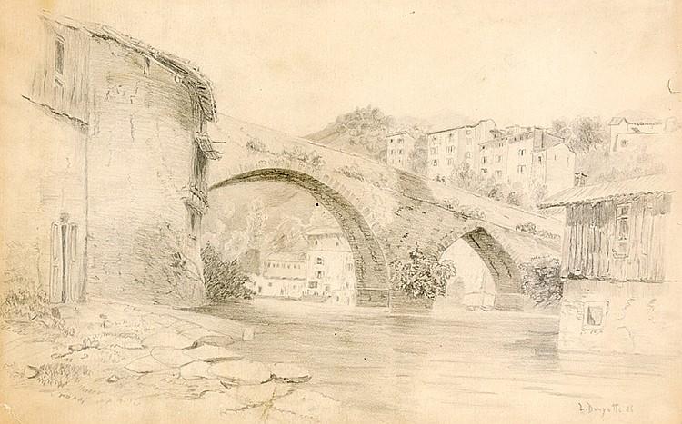Douzette, Louis. Brücke über Fluss mit Häusern am Hang. Bleistiftzeichnung