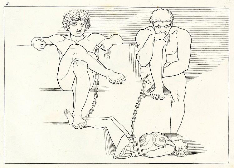 Flaxman, John - - Homer u.a. Zwei Bände mit vier Illustrationsfolgen. (Pari