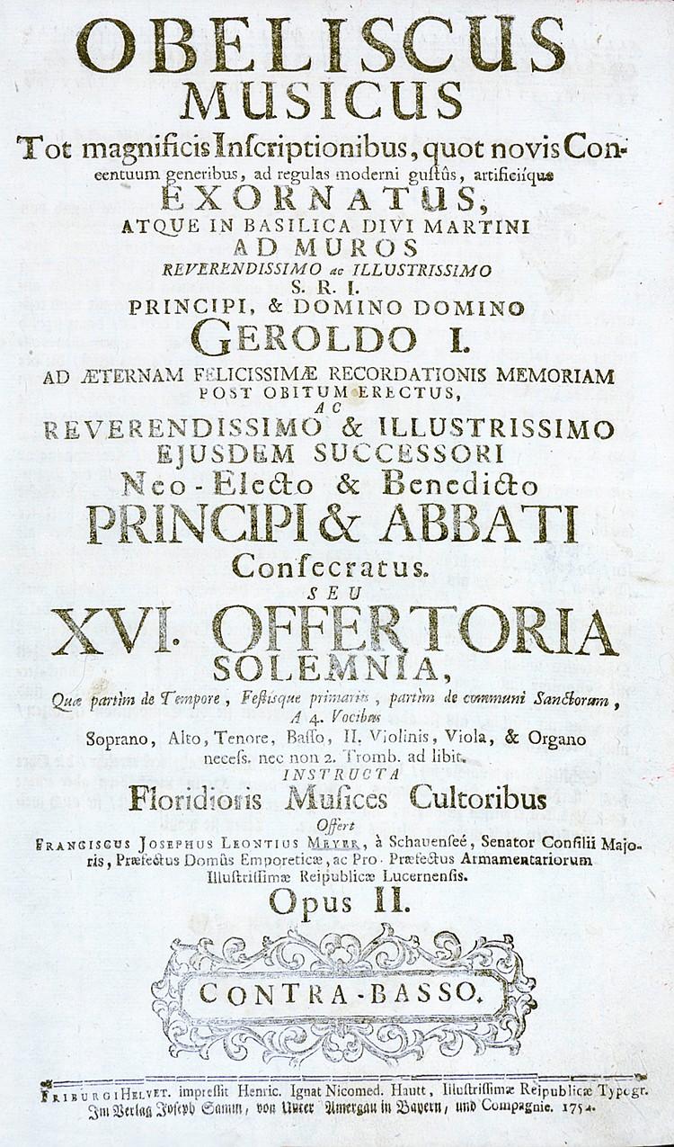 Musik - - Barocke Kirchenmusik. Sammelband mit 3 Werken. 1754-1766. 32,5 x