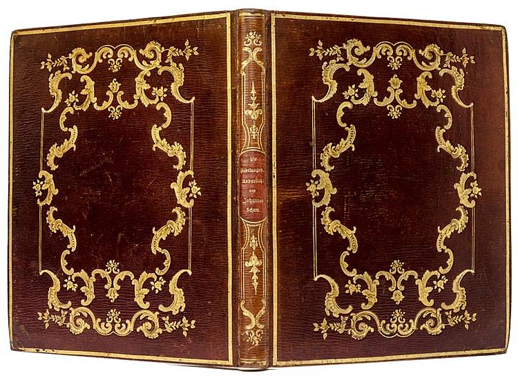 Einbände - - Brauner Romantikereinband mit goldgeprägtem Rückenschild, reic