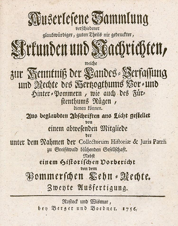 Deutschland - Pommern - - Gerdes, G. G. Auserlesene Sammlung verschiedener