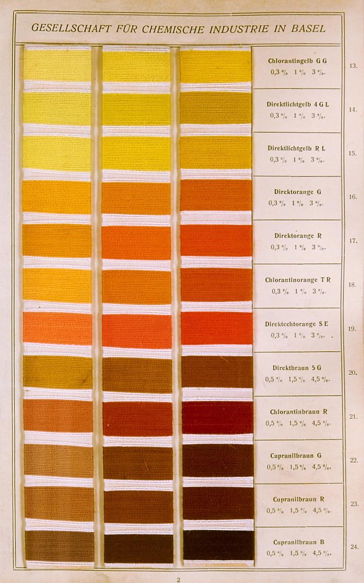 Technik - Textilindustrie - - Direkte und basische Farbstoffe. Musterbuch m