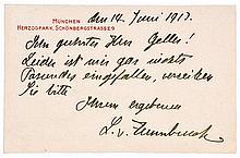 Zumbusch, Ludwig von. Eigenhändige, siebenzeilige Postkarte an den Münchner
