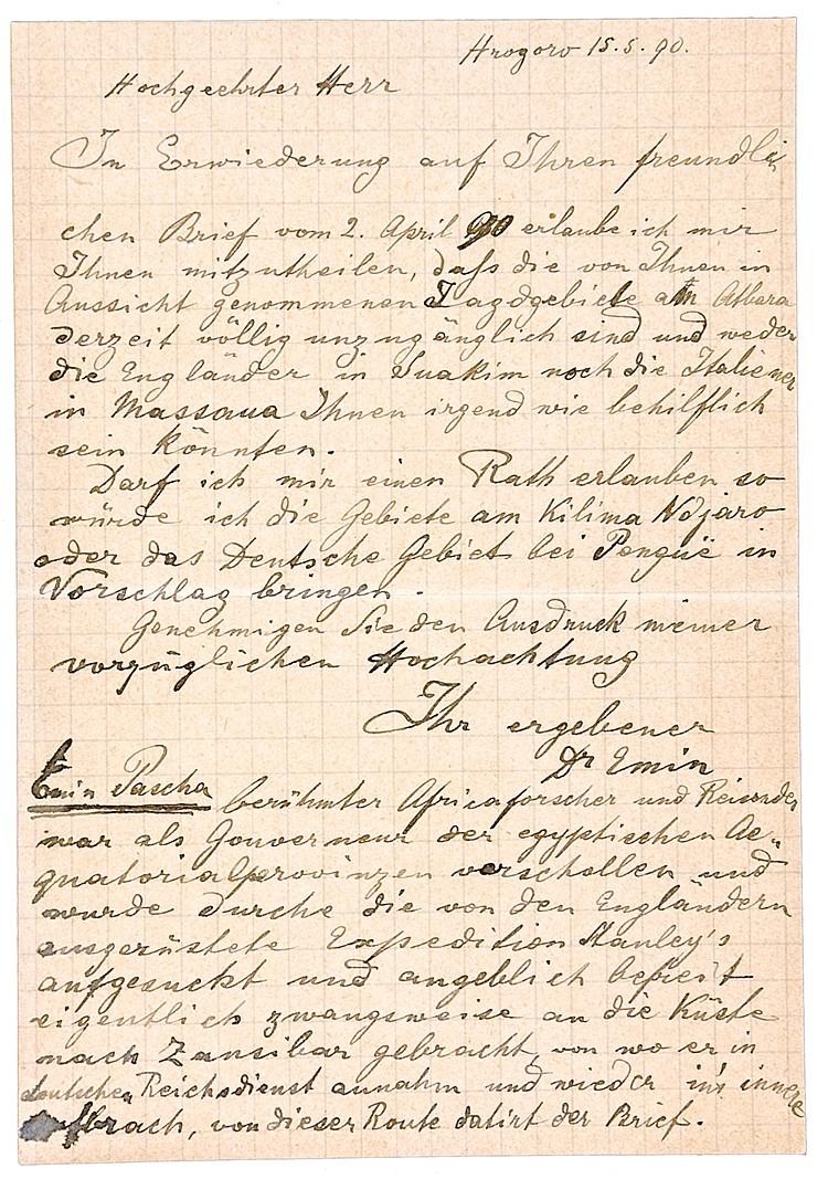 Emin Pascha. Eigenhändiger elfzeiliger Brief an Robert von Schaub. Deutsche