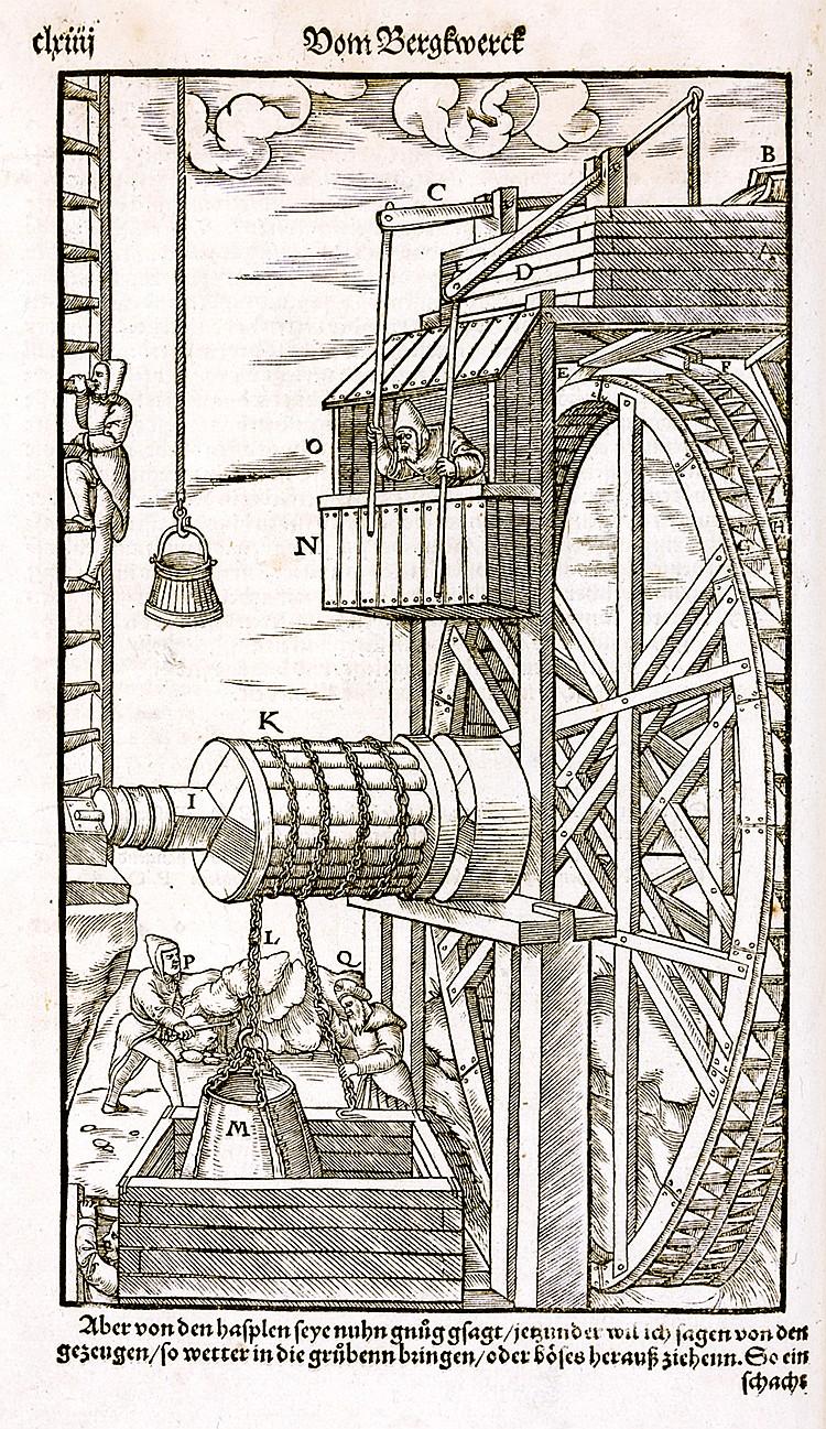 Agricola, Georgius. Vom Bergwerck XII. Bücher. Darinn alle Empter, Instrume