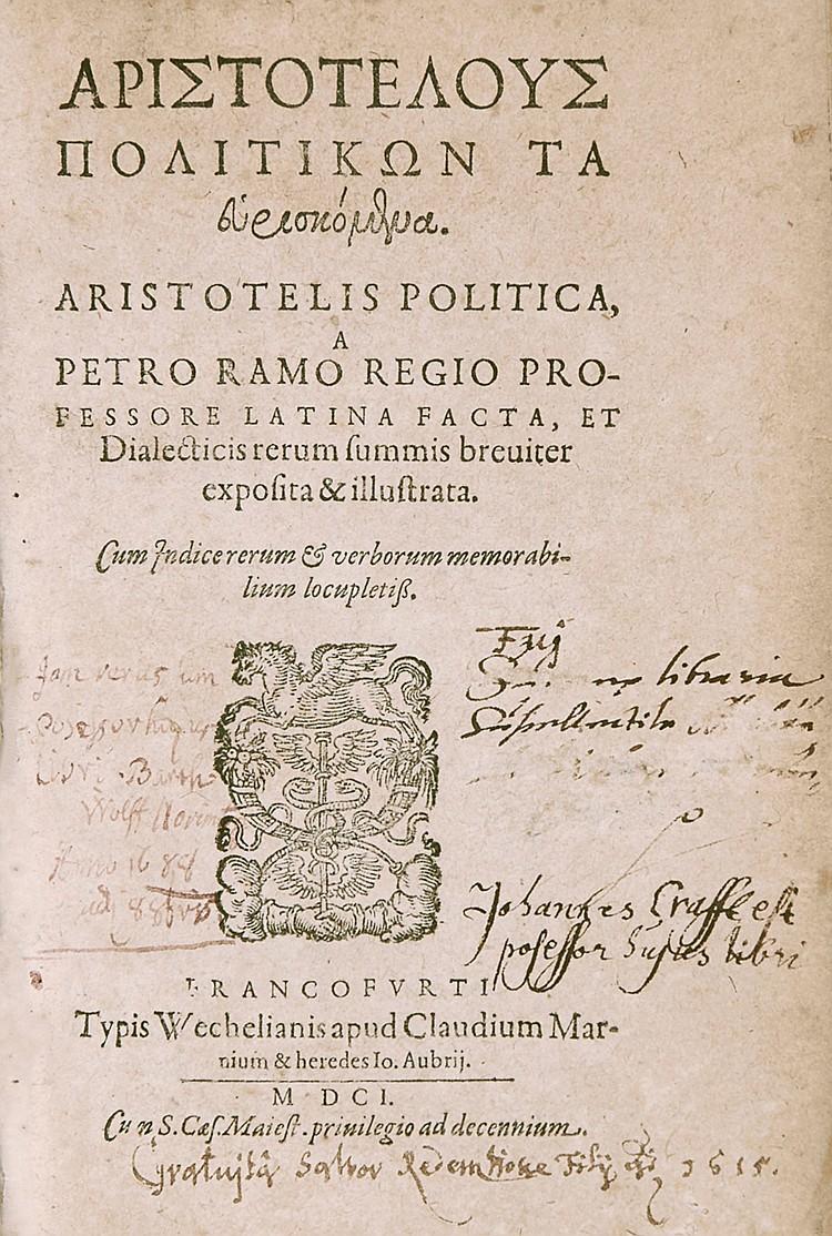 Aristoteles. Politikon Ta heuriskomena (graece) ... Politica, a Petro Ramo