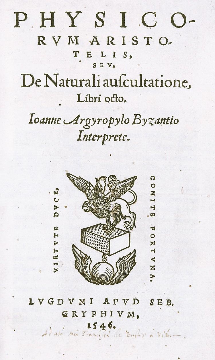 Aristoteles. Sammelband mit 6 Werken. Alle mit Holzschnitt-Druckermarken au