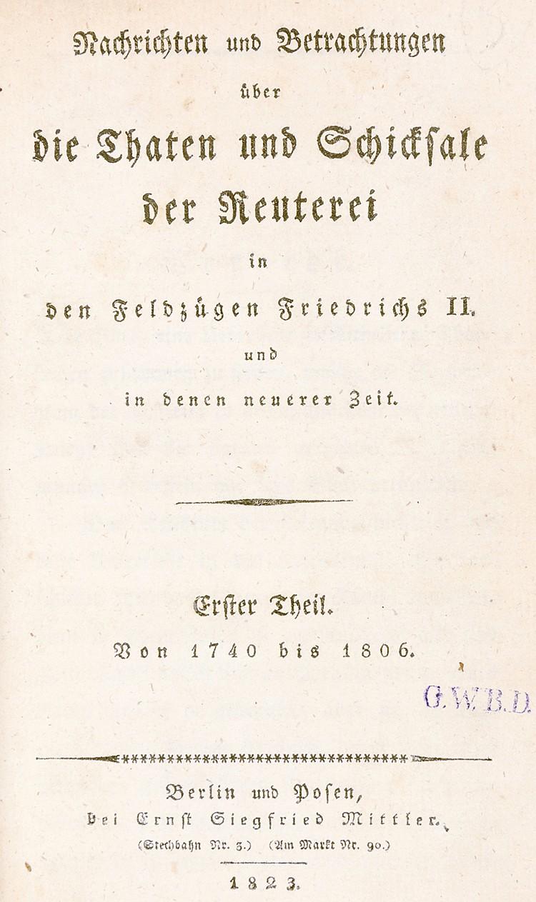 Militaria - - Canitz Dallwitz, Carl Ernst Wilhelm von. Nachrichten und Betr