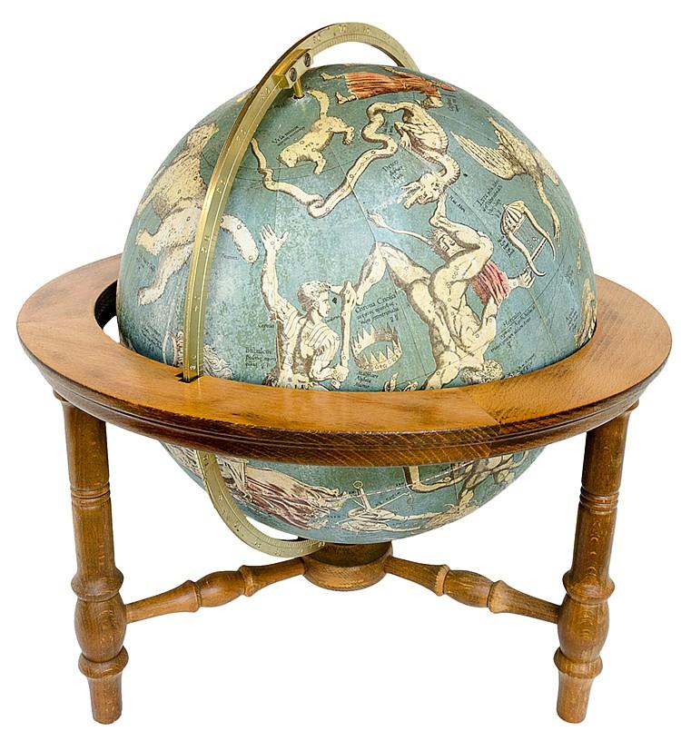 Globus - - Räth. Räths historischer Himmelsglobus. 12 farbige Papiersegment