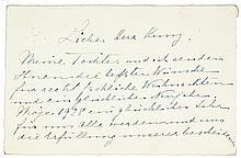 Slatin, Rudolf. Eigenhändige, zweiseitig beschriebene Briefkarte an einen H