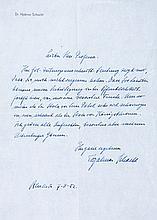 Schacht, Hjalmar. Handschriftlicher Brief an einen (Nürnberger?) Professor.
